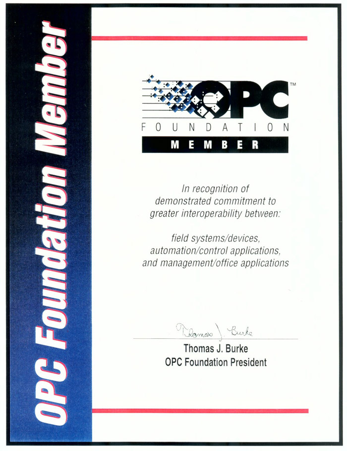 OPC Foundation Member Interoperability Commitment Recognition